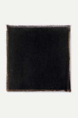 Loro Piana Quadrata Luna Fringed Metallic Cashmere-blend Scarf - Charcoal