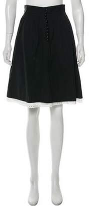 Marc Jacobs Eyelet-Trimmed Knee-Length Skirt Black Eyelet-Trimmed Knee-Length Skirt