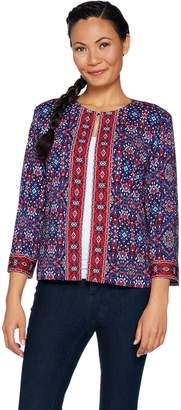 Joan Rivers Classics Collection Joan Rivers Moroccan Spice Knit Jacket w/ 3/4 Sleeves