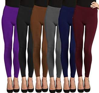 Lush LMB Moda Seamless Full Length Leggings - Variety Colors - 6Pack- Black-Br-Burg-Charc-Navy-Pur