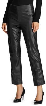 Ralph Lauren Straight-Leg Leather Ankle Pants