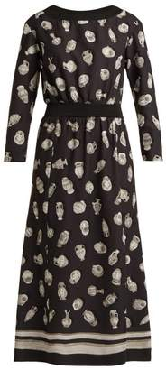 Altuzarra Paola Vase Print Satin Dress - Womens - Black Multi
