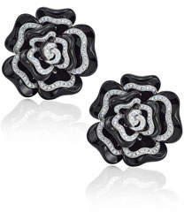 Bessa Black Agate & Diamond Flower Earrings