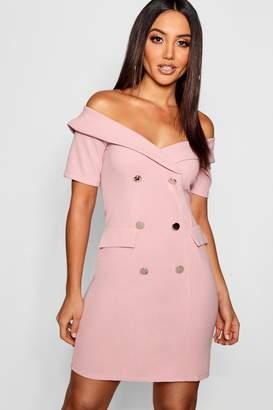 boohoo Off The Shoulder Blazer Dress