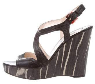 Prada Wooden Wedge Sandal