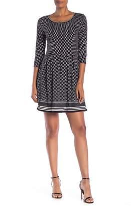 Max Studio 3\u002F4 Sleeve Release Pleat Flare Dress