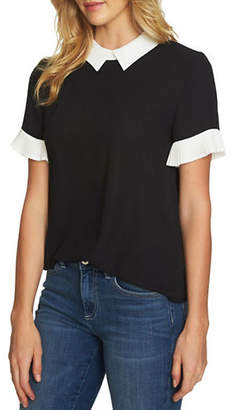 CeCe Colourblock Pleated Sleeve Top