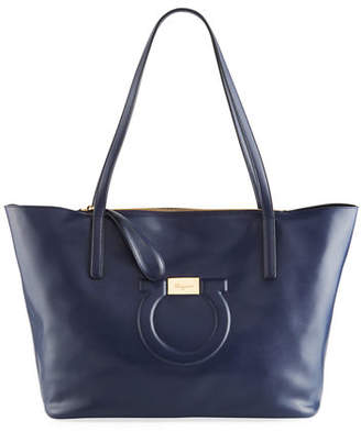 Jet Set Tote Bag in Blue Dolce T Leather Salvatore Ferragamo GGLtie3hAd