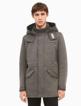 Calvin Klein heather neoprene hooded parka