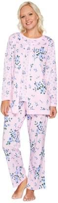 Carole Hochman Cotton Jersey Floral Twin Print 3 Pc Pajama Set