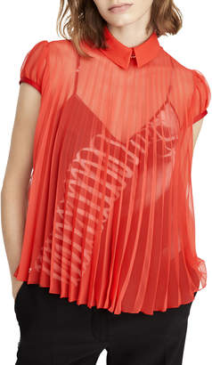 Schiaparelli Short-Sleeve Pleated Chiffon Blouse, Red