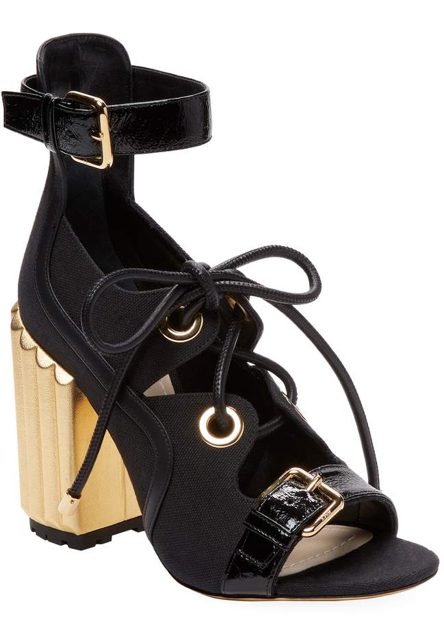 Dior Women's Lace-Up Block Heel Sandal