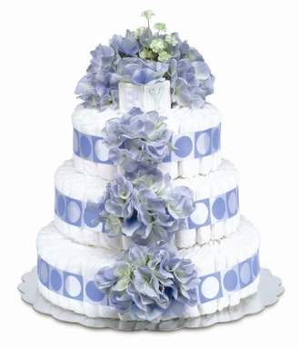 Bloomers Baby Baby Diaper Cake Classic Blue Hydrangea 3-Tier by