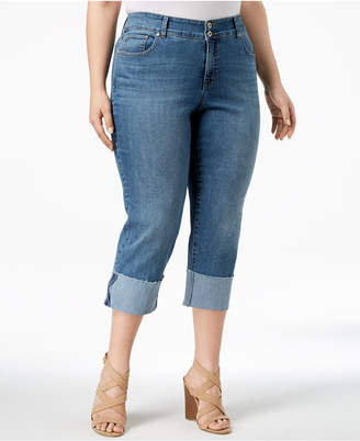 Style&Co. Style & Co Plus Size Cuffed Straight-Leg Jeans, Created for Macy's