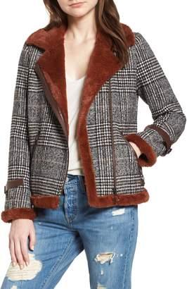 AVEC LES FILLES Faux Fur Lined Plaid Biker Jacket