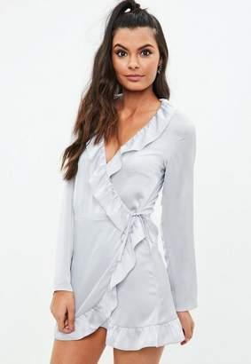 Missguided Gray Satin Long Sleeve Frill Wrap Tea Dress
