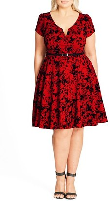 Plus Size Women's City Chic Rose Beauty Belted Fit & Flare Dress $89 thestylecure.com