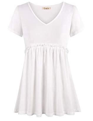 Cyanstyle Women's Summer V Neck Short Sleeve Tunic Empire Waist Peplum Blouse Top