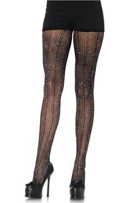 Leg Avenue Women's Spandex Crocheted Striped Lurex Pantyhose, Black/Silver, One Size