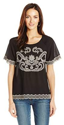 Ella Moon Women's Kalista Short Sleeve Embroidered Scallop Hem Top