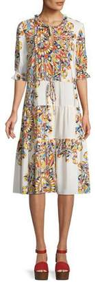 Tory Burch Arabella Psychedelic Geometric Tiered Dress