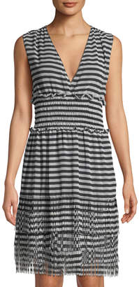 Max Studio Striped Fringe-Trimmed Sleeveless Dress