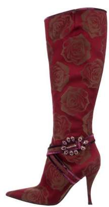 Sergio Rossi Satin Pattterned Knee-High Boots