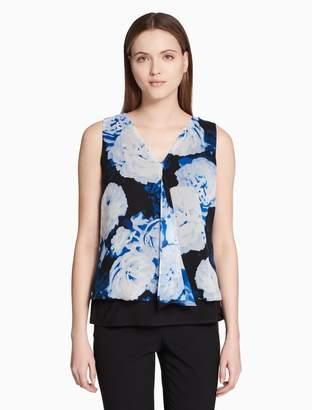 Calvin Klein floral v-neck double layer sleeveless top