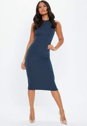 Missguided Gray Sleeveless Bodycon Midi Dress