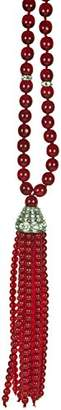 Kenneth Jay Lane 36 INCH-RUBY () TASSEL NECKLACE WITH PAVE CRYSTAL ACCENTS