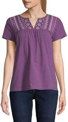 ST. JOHN'S BAY Womens Split Crew Neck Short Sleeve T-Shirt