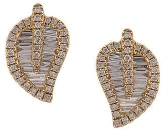 Anita Ko 18kt yellow gold diamond leaf studs