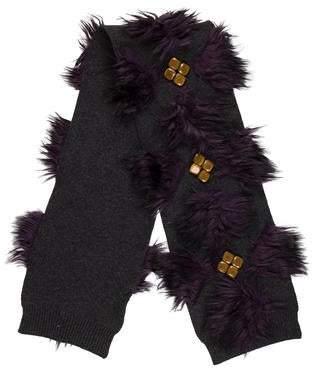 Marc Jacobs Embellished Faux-Fur Scarf