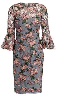 David Meister Women's Bell Sleeve Floral Sheath Dress - Pink - Size 2