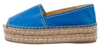 Prada Peep-Toe Leather Espadrilles