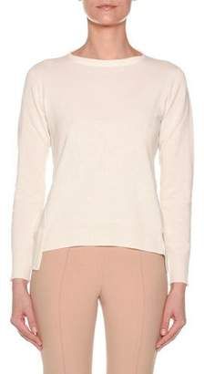 Agnona Long-Sleeve Crewneck Cashmere Sweater w/ Step Hem