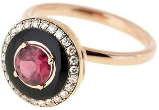 Selim Mouzannar Round Rhodolite, Black Enamel And Diamond Pavé Ring