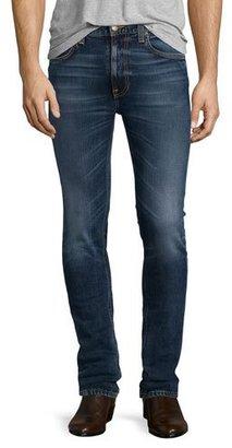 Nudie Lean Dean Deep Dark Indigo Skinny-Leg Jeans, Blue $220 thestylecure.com