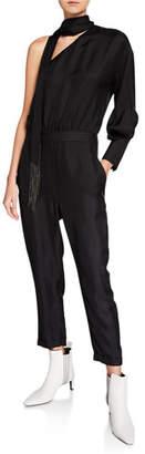 Brunello Cucinelli One-Shoulder Monili-Scarf Silk Jumpsuit