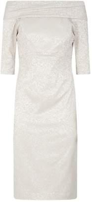 John Charles Jacquard Embroidered Dress