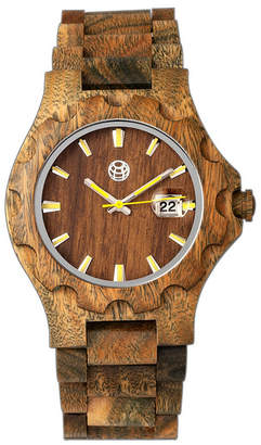 Earth Wood Gila Wood Bracelet Watch W/Magnified Date Olive 43Mm
