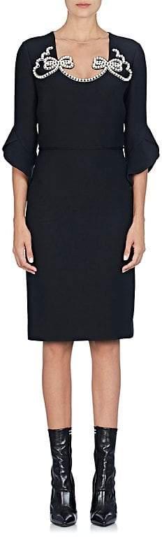 Fendi Women's Pearl Bow Wool-Silk Sheath Dress
