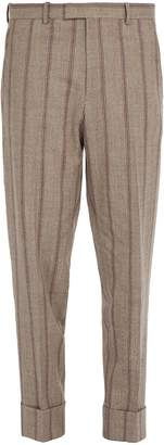 Wooyoungmi Striped turn-up wool-blend trousers