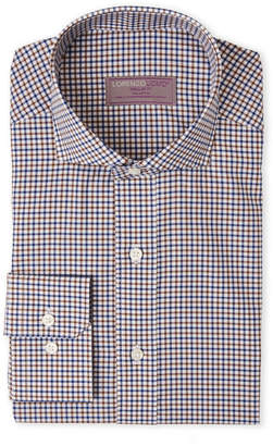 Lorenzo Uomo Brown & Blue Check Regular Fit Dress Shirt