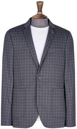 Burton Mens Big & Tall Navy Stretch Jersey Checked Blazer