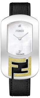 Fendi Chameleon Diamond, Topaz & Stainless Steel Leather Strap Watch