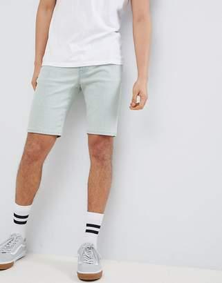 Asos Design DESIGN Denim Shorts In Skinny Bleached Down Blue Wash