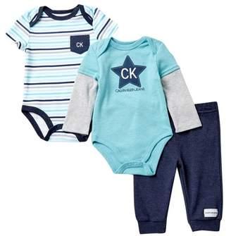 Calvin Klein Short Sleeve Bodysuit, Long Sleeve Bodysuit, & Pants Set (Baby Boys)