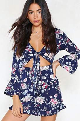 Nasty Gal Call Me in a Flower Tie Front Romper