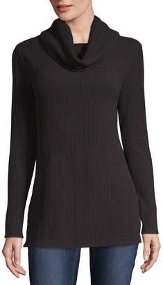 Liz Claiborne Long Sleeve Cowl Neck T-Shirt-Womens